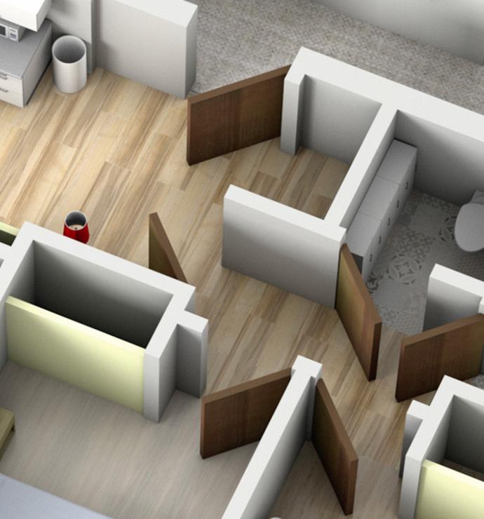 Özel odalar: resepsiyon, koridorlar